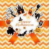 Halloween frame with stickers of celebration symbols. Stock Images