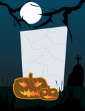 Halloween Frame. Vector illustration of halloween frame with pumpkin on a cemetery background at night time Stock Image