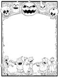 Halloween Frame With Zombies,Skulls and Pumpkins Royalty Free Stock Image
