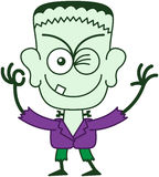 Halloween Frankenstein clignant de l'oeil et faisant un signe CORRECT Image libre de droits