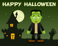 Halloween Frankenstein and Haunted House Royalty Free Stock Images