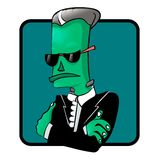 Halloween Frankenstein monster in tuxedo  character. Holiday party symbol Royalty Free Stock Image