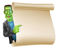 Halloween Frankenstein Scroll Banner Royalty Free Stock Image