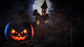 Halloween frequentierte Villa mit Kürbis und schlägt Schleife 4K stock abbildung