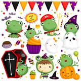 Halloween Frog. A halloween frog with many items vector illustration