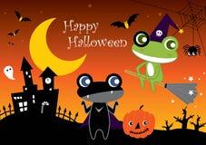 Halloween Frogs. Happy Halloween and Cartoon Frogs Stock Images