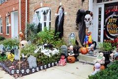 Halloween front door decorations Royalty Free Stock Photos