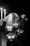 Halloween fruits - black and white stock illustration