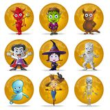 Halloween Full Moon Character Set Royalty Free Stock Photo