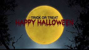 Halloween Full Moon. Happy Halloween Bloody Text With Full Moon Animation. Scary Orange Full Moon and Dark Clouds at Night, Halloween Night, Nightmare - 4K stock video