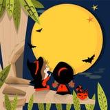 Halloween full moon A Stock Photo