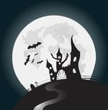 Halloween full moon night background. Vector illustration Royalty Free Stock Image