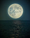 Halloween full moon under the see Royalty Free Stock Image