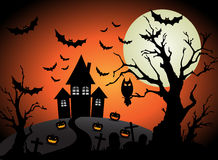 Halloween fullmånebakgrund Arkivbild