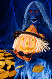Halloween fun pumpking and horror figure Stock Photos