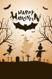 Halloween Funny Background with Bat and Haunted House. vector illustration