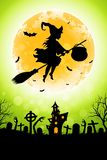 Halloween Funny Background with Witch and Haunted House. Royalty Free Illustration