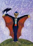 Halloween Funny Batcula with Crow. A mutant Dracula, more bat than vampire, with a crow on his hand and a funny face. Original hand made illustration, painted Royalty Free Stock Image