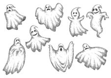 Halloween funny cartoon ghosts set Stock Photos