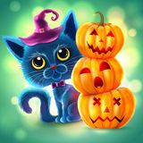 Halloween funny characters. Black cat with big eyes and glowing pumpkin. Invitation card for party and sale. Autumn holidays. Vect. Halloween funny characters