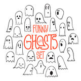 Halloween Funny Ghosts Circle. Big set of cartoon spooky scary ghosts character, hand-drawn ghosts with various expressions, funny night symbol for halloween Royalty Free Stock Image