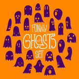 Halloween Funny Ghosts Circle Orange 2 Stock Image