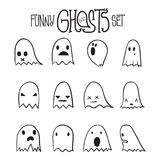 Halloween Funny Ghosts Set 6 Royalty Free Stock Photography