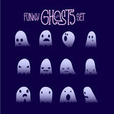 Halloween Funny Ghosts Set 7 Royalty Free Stock Photo