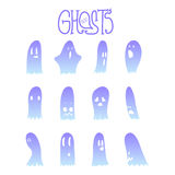 Halloween Funny Ghosts Set 8 Royalty Free Stock Photography