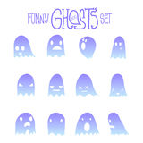 Halloween Funny Ghosts Set. Set of twelve cartoon spooky scary ghosts character, hand-drawn ghosts silhouette with various expressions, funny night symbol for Stock Photos