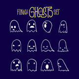 Halloween Funny Ghosts Set 3 Royalty Free Stock Photo
