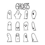 Halloween Funny Ghosts Set 4 Royalty Free Stock Photography