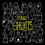 Halloween Funny Ghosts Square 2 Royalty Free Stock Images
