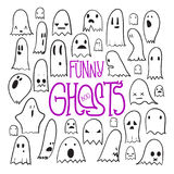 Halloween Funny Ghosts Square. Big set of cartoon spooky scary ghosts character, hand-drawn ghosts with various expressions, funny night symbol for halloween Royalty Free Stock Image