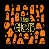 Halloween Funny Ghosts Square Orange 2 Royalty Free Stock Photos