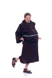 Halloween, funny monk. Halloween funny monk dancing on white background Royalty Free Stock Images