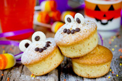Halloween funny monster muffins with chocolate eyes for treat ki Royalty Free Stock Photography