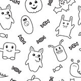 Halloween funny monster seamless pattern. Royalty Free Stock Photography