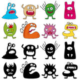 Halloween Funny Monsters Set. Collection of eight funny monsters for Halloween, isolated on white background, in two different versions: colored and silhouettes Stock Photos