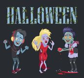 Halloween Funny Poster on Vector Illustration. Halloween funny poster representing zombie that fell in love, angry undead woman and smiling walker with vector illustration