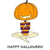 Halloween funny pumpkin namaste vector illustration