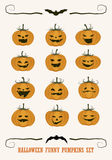 Halloween Funny Pumpkins Set. Expressions and scary smiles Stock Image
