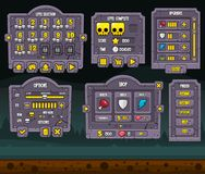 Halloween Game GUI Set. Collection of scary Halloween buttons, windows, and other user interface elements for creating 2d zombie or horror games vector illustration