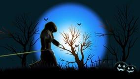Halloween-gang van de Doods de Onverbiddelijke Maaimachine boos over het scherm vector illustratie
