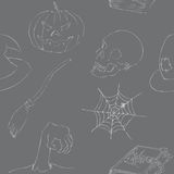 Halloween garabatea el modelo inconsútil Foto de archivo