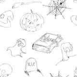 Halloween garabatea el modelo inconsútil Imagen de archivo libre de regalías