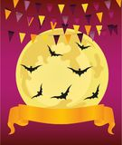 Halloween. Garland of flags and banner / ribbon for text. Vector Stock Photos