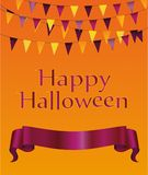 Halloween. Garland of flags and banner / ribbon for text. Vector Stock Image