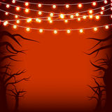 Halloween garlands tree and spider web Stock Image