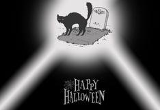 Halloween Gatto nerezza Cimitero illustrazione di stock